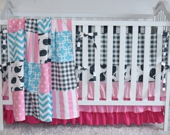 Whales Crib bedding , pink, aqua and charcoal, ocean theme nursery, nautical, ruffle crib skirt, bumpers, fitted sheet, patchwork blanket