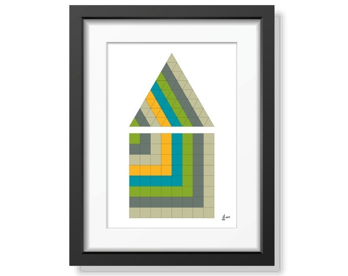 Triangle and square 04 [mathematical abstract art print, unframed] A4/A3 sizes