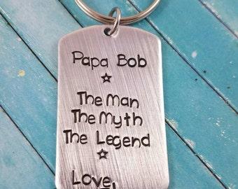 Papa Keychain, Grandpa Keychain, Grandfather Keychain, Gift for Him, Custom Grandpa Keychain, Stamped Keychain, The Man the Myth the Legend