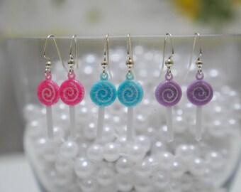 Glittery Pastel Lollipop Earrings – so kawaii Lolita decora fairy kei j-fashion