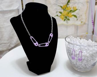 Pastel Safety Pin Necklace with Earrings  in variety of colors – so kawaii decora fairy kei Lolita j-fashion