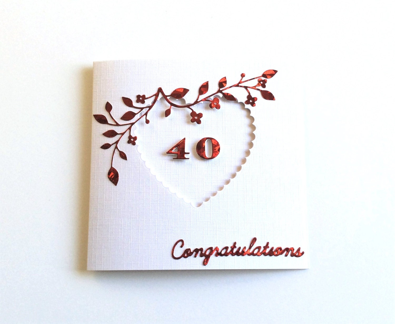Ruby wedding anniversary 40th anniversary card wife for Decoracion 40 aniversario de bodas