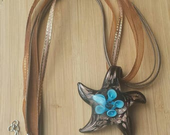 Brown and Blue Lamp Work Glass Starfish Necklace
