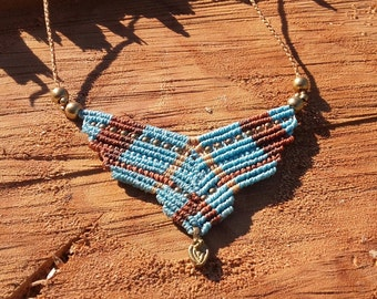 Blue macrame necklace. Hippie chic. Boho.