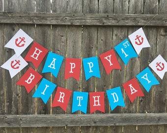 Nautical birthday banner. Anchor birthday banner. Sail boat birthday. Nautical birthday decor. Red and turquoise nautical banner.