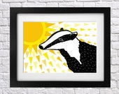 Sunny Days Badger Print - nursery print - illustrated print - lino print - digital - weather - sun - sunshine - black and white - badgers