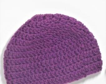 3-6 Month Dark Purple Beanie