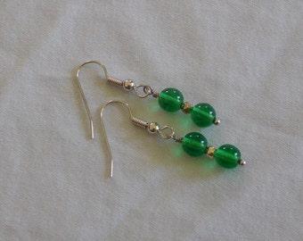 Bright Green Glass Earrings