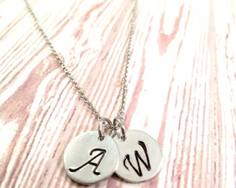 Initial necklace  monogram necklace  silver disc necklace  minimal necklace  Bridesmaid necklace  trendy necklace   For her  for birthday