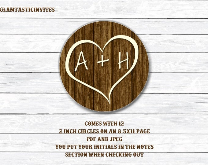 Rustic Wedding Toppers, Rustic Wedding Stickers, Rustic Stickers, Rustic Cupcake Toppers, Rustic, Rustic invitation, wood, Initials, heart