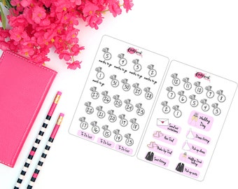 Cute Wedding Countdown Stickers (Starting from 5 months) for Planner, Diary, Journal, Notebook such as Erin Condren, Kikki K and Filofax.