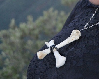 Oz bone inverted cross necklace