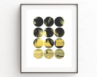 Beach Photo Decor, Beach Print Decor, Palm Leaf Art Print, Palm Trees Print, Photography Circle, Beach Decor, Palm Tree Wall Decor, Prints