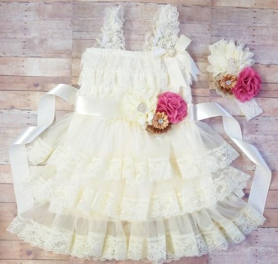 Rustic Flower Girl Dress, Country Flower Girl Dress, Burlap Flower Girl Dress, Lace Ivory Dress, Rustic Lace Dress, Vintage Girl Lace Dress