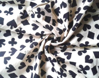 Indian cotton fabric black card shapes printed Heart club diamond printed on off white color cloth summer dress sewing fabric
