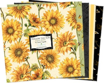 "Follow the Sun 10"" Squares/Layer Cake by Lisa Audit for Wilmington Prints Fabric Q518-445-518"