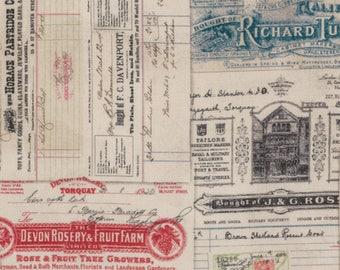 1/2 yd Dapper Vintage Receipts by Tim Holtz for Coats & Clark PWTH058.8MULT
