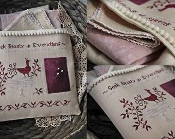 Seek Beauty in Everything / Primitive cross stitch pattern / PDF