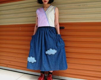 Miku Cloud Long Skirt Blue Denim