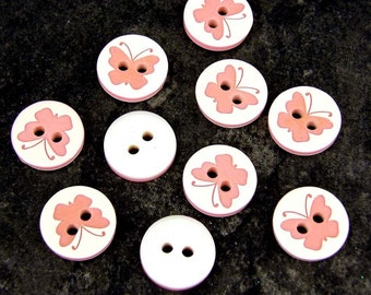10 x Buttons - round - Butterfly - 12.5mm - Baby/Kids - Knitting/Sewing Children's B100