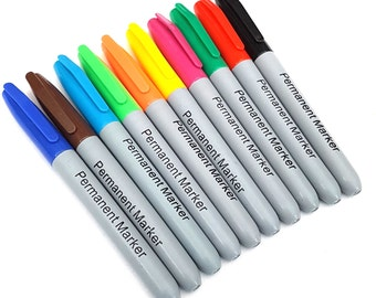Sharp Tip Permanent Markers Assorted Multi Colour 10 Pack