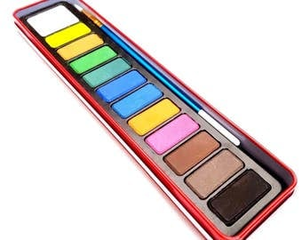 Watercolour Paint & Brush Set 12 Assorted Colours In Red Metal Tin Case