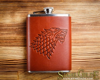Game of Thrones, Leather  Flask, House of Stark , Handmade gift for your boyfriend Groomsman, husband, best man, hip flask Leather Flask