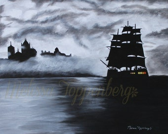 ORIGNAL landscape pirate ship painting Christmas Gift's for guy's or Dad