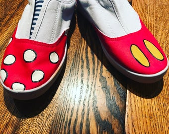 Mickey and Minnie Mouse inspired canvas painted shoes