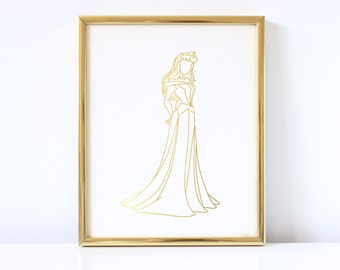 Aurora Inspired - Disney Inspired - Princess - Sleeping Beauty Inspired - Real Foil - Foil Art - Gold Foil - Hand Drawn - Print - Foil Print