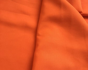 Butter Crepe fabric, by the yard, crepe de chine,bright orange, solid color, 41 inches wide, drapey fabric, crepe silk fabric, medium weight