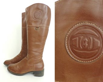 Vintage Etienne Aigner Brown Knee High Boots Size 7.5, Logo  Boots, Etienne Aigner, Long Boots, Riding Boots,Man Made Boots, High Boots