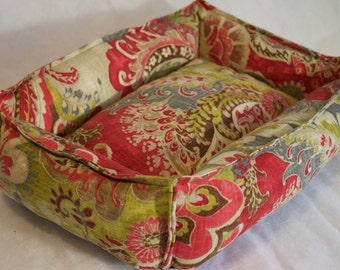 """Coral/Chartreuse Scroll Print on Tan pet bed, Cat Bed, Dog Bed, ResistFashion Design small """"Cuddle"""" size"""