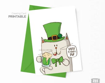 St patricks day cards, Saint Patrick's day card, Irish cat, greeting card printable, Instant download,Irish cat