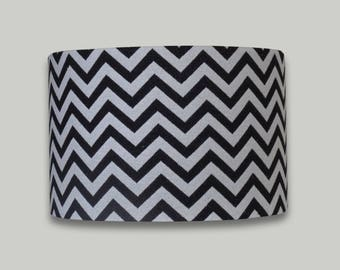 Black White Chevron Drum Lampshade Lightshade Lamp shade 20cm 25cm 30cm 35m 40cm diameter range of depths in each size