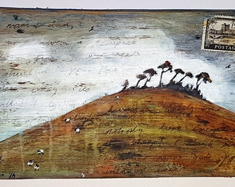 Original mixed media painting on wood - 'Lady Hill'