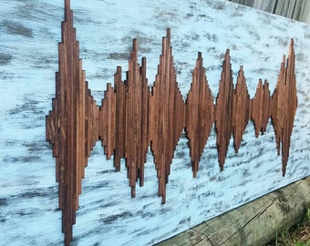 Large Wood Soundwave Wall Art - Soundwave Art - Wood Wall Art - Unique Gift Idea - Anniversary Gift