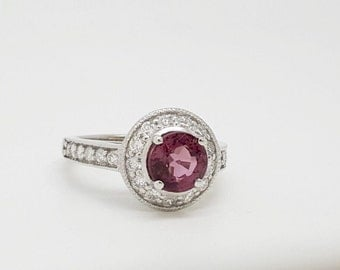 Sale!!40%***18k solid white gold pink rubellite tourmaline and diamond halo ring