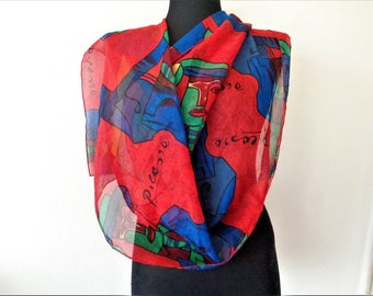 Picasso scarf, Picasso scarf oblong sheer scarf, abstract art scarf, cubism, neck scarf,  headscarf