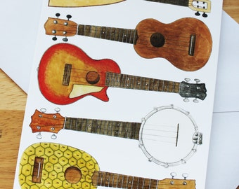 Ukulele Card, Blank DL Tall, Musicians Card, Birthday, Thankyou, Notecard, Banjolele,Electric,Pineapple,Flying V, Soprano,Resonator,Acoustic