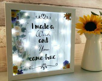Anniversary Gifts, Present for wife, Girlfriends birthday, nursery night light, new baby decor, rustic light box, bride wedding keepsake