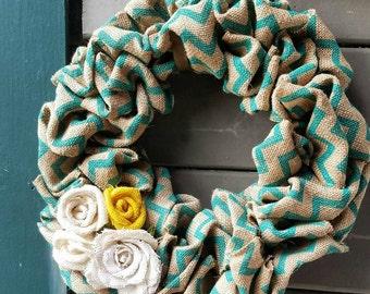 Spring Burlap Rose Wreath