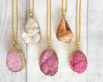 Druzy Necklace - Druzy Jewelry - Layering Necklace - Raw Agate - Geode Necklace - Crystal Jewellery - Bohemian Necklace - Gift for Her