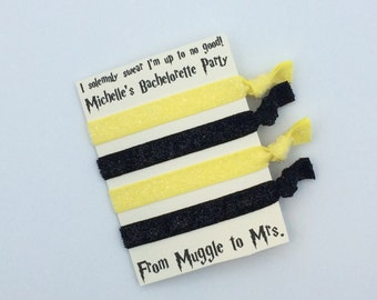 Hufflepuff Hair Tie Favor - Harry Potter Inspired, Bachelorette Party, Survival Kit, Party Favor, Bridal Party Gifts, Elastic Hair Ties