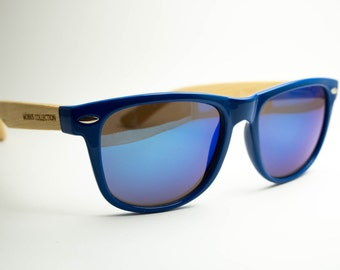 Blue Bolt - Wayfarer Eco-friendly Bamboo Sunglasses
