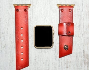 Red Apple watch strap leather // apple watch band 42mm leather - iwatch strap - iwatch band 38mm - lugs adapter accessories for women