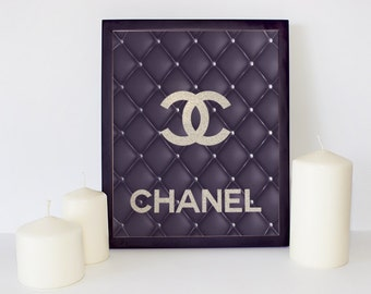 Black Leather Chanel Logo, Chanel Wall Art, Coco Chanel Print, Glitter Coco Chanel, Black Quilted Leather, Elegant Wall Decor, Fashion Logo