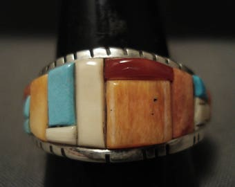 Important Navajo David Tune Shell Turquoise Silver Ring