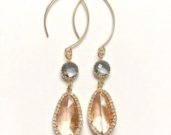 Peach Crystal Earrings, Peach Drop Earrings, Drop Earrings, Crystal Earrings, Peach Glass Earrings, Peach and Grey Earrings
