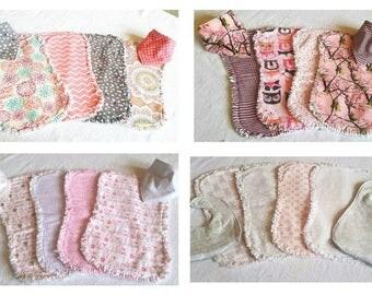Baby Girl - Baby Burp Cloth and Bib Sets